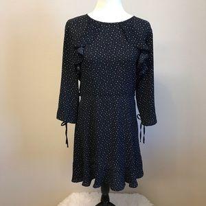 Topshop Star Print Ruffled Dress Sz 10 Navy New